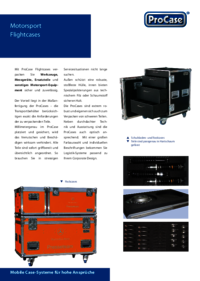 Brochure for flight case solutions for the motor racing industry