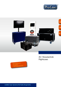 Brochure about flight cases for AV equipment, plasma display cases