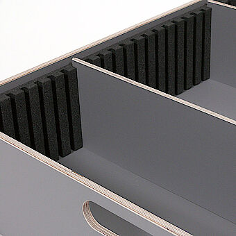 Grooved, foam compartments for inlay trays