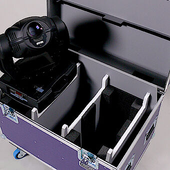 Flight case for a moving light featuring machined partitions and hard foam