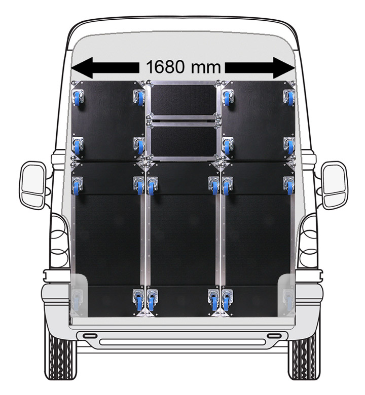 Sprinter truck filled with sprinter Size format cases